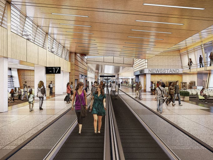 A rendering of the new concourse planned for Salt Lake City International Airport.