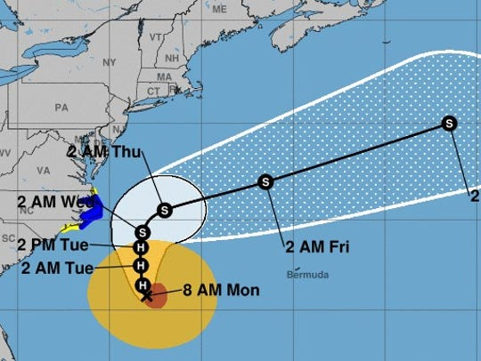 The projected path of Hurricane Maria, as of Monday