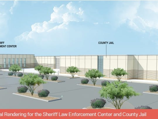An early HOK rendering shows the new jail and law enforcement
