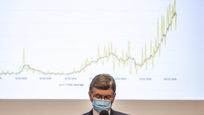 """Springfield Major Jim Langfelder speaks in front of a projection showing the rocketing cases of COVID-19 during a press conference to talk about a """"phased approach"""" to mitigations put in place by Gov. JB Pritzker for Region 3 to combat the rising cases of COVID-19 during a press conference at the Sangamon County Department of Health, Tuesday, November 3, 2020, in Springfield, Ill."""