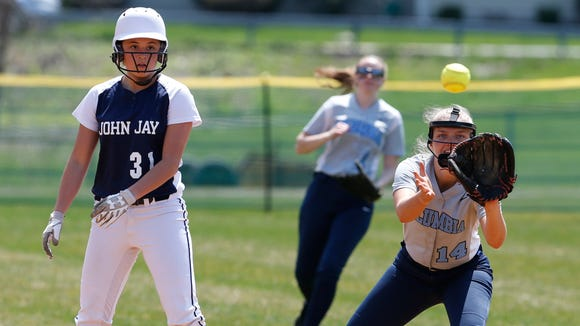 Action from Saturday's softball game between John Jay