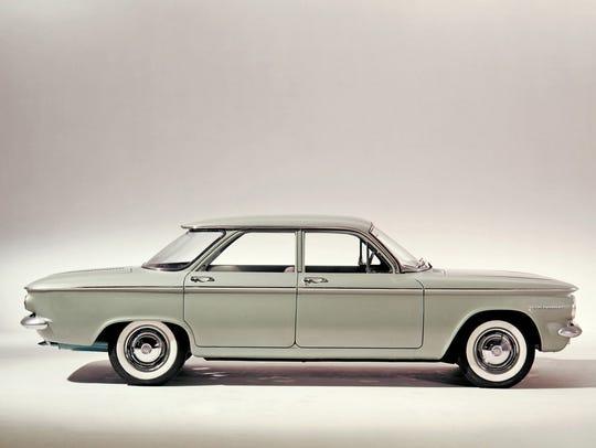 A 1960 Chevrolet Corvair sedan.