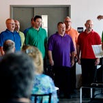 Members of the Harrisburg Gay Men's Chorus perform before a vow renewal ceremony at the Bond Building during Equality Fest on Sunday, Aug. 2, 2015.