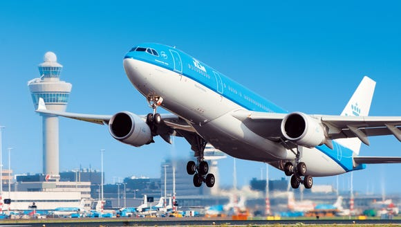 This photo provided by KLM shows one of the airline's
