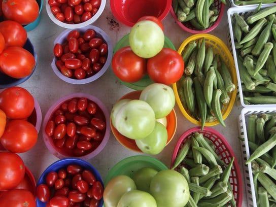 Locally grown tomatoes and okra are just two of the