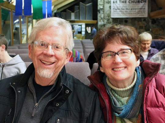 Rob and Marilyn Payton of Redding attend the Oaksong Music Society concert with Chuck Brodsky on Jan. 28 at Pilgrim Congregational Church in Redding.