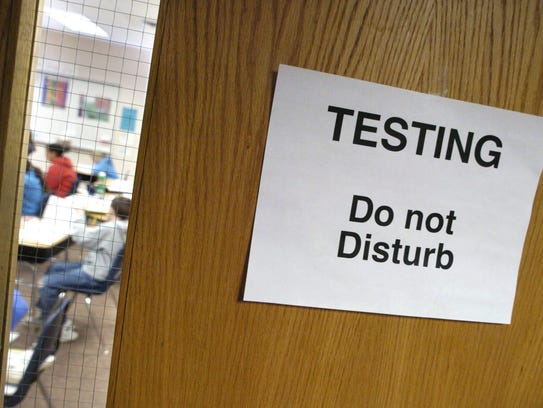 Signs call for quiet during testing at a Mississippi elementary school.
