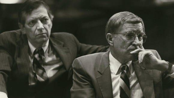 Gov. Evan Mecham during his 1988 impeachment trial.