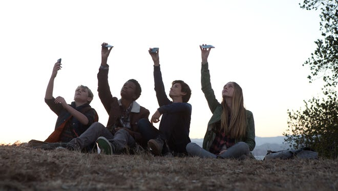"""From left, Reese Hartwig, Astro, Teo Halm and Ella Linnea Wahlstedt star in Relativity Media's """"EARTH TO ECHO."""""""