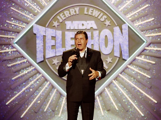 Entertainer Jerry Lewis makes his opening remarks at the 25th Anniversary of the Jerry Lewis MDA Labor Day Telethon fundraiser in Los Angeles on Sept. 2, 1990.