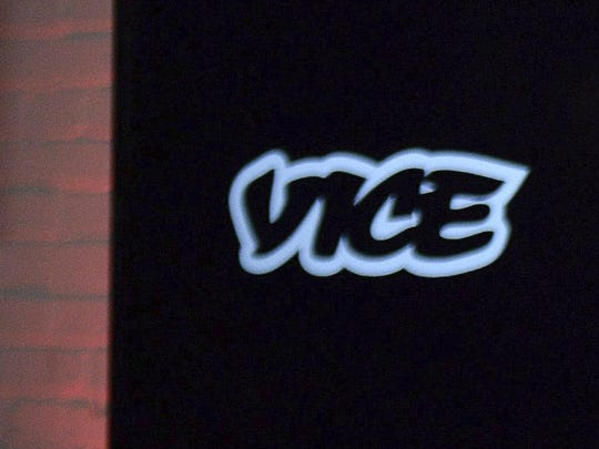 The Vice logo is shown at a joint venture announcement between Vice Media and Roger Communications in Toronto in 2014.