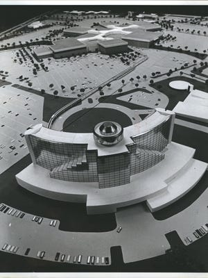 An artists model of the Fairlane Town Center in Dearborn, Michigan. The site includes the mall and the former Hyatt Regency hotel, with an elevated monorail that connected the mall with the hotel.