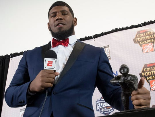 Houston defensive tackle Ed Oliver won the Outland