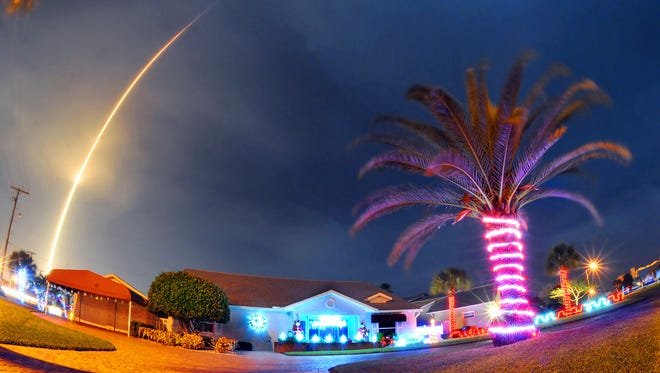 The SpaceX Falcon 9 rocket lifts off over Cocoa Beach, Fla., at Cape Canaveral Air Force Station, Monday, Dec. 21, 2015.