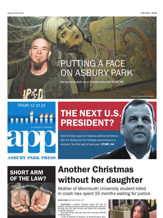 Asbury Park Press front page Friday, Dec. 19 2014