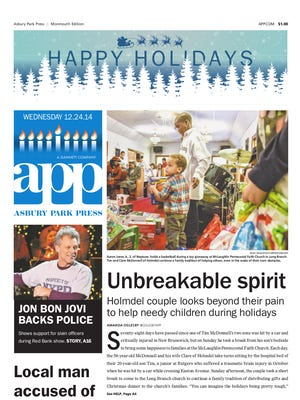 Asbury Park Press front page for Wednesday, Dec. 24 2014.