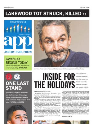 Asbury Park Press front page for Friday, Dec. 26 2014.