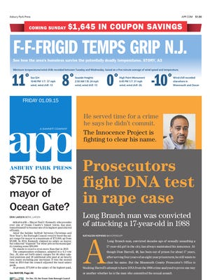 Asbury Park Press front page for Friday, Jan. 9 2015.