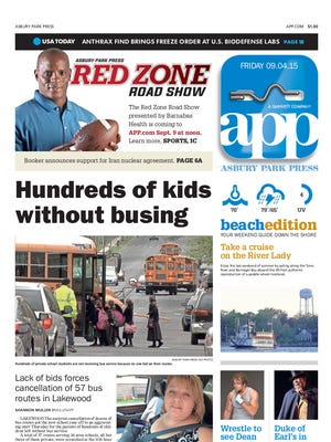 Asbury Park Press front page for Friday, Sept. 4 2015.