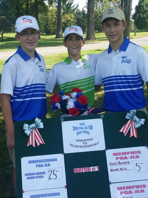 Area golfers (l-r) Carter Stephens, Jacob Teply and Wesley Sandlin will be competing for a PGA JLG region title in Oklahoma Oct. 1-2.