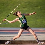 CSU senior Jessi Macedo, shown competing at the Mountain West Championships earlier this month, was in 11th place in the women's javelin when competition was suspended for the day Thursday in the West Preliminary Round of the NCAA championships in Lawrence, Kan.