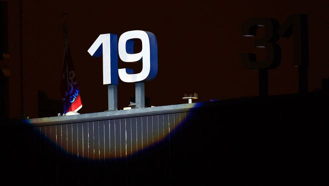 San Diego Padres former player Tony Gwynn's number was illuminated during Tony Gwynn's memorial service at Petco Park.