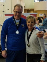 Randy Godwin of Mountain Home, left, teamed up with Diana Matthews of Lincoln, Neb., to win the 60-plus mixed doubles racquetball National Championship held in Kansas City earlier this year. The tournament was sanctioned by the National Masters Racquetball Association. Both of Godwin's sons are state racquetball champions.