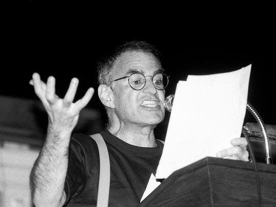 """Photo Courtesy of Ellen Shub/HBO Larry Kramer speaking at a meeting in June 1987 at historic Faneuil Hall in Boston, sponsored by the Boston Lesbian and Gay Political Alliance, in a scene from """"Larry Kramer in Love and Anger."""""""