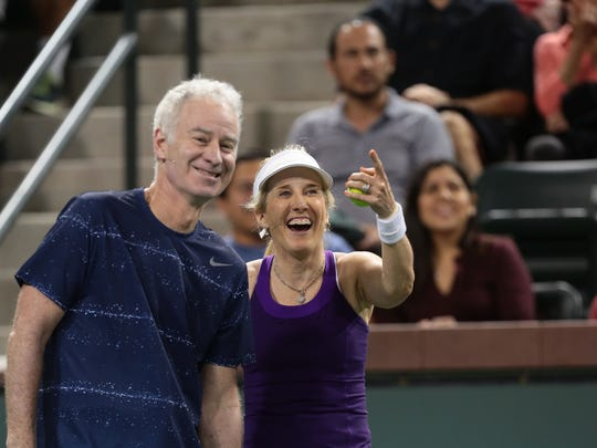 Tracy Austin and John McEnroe share a laugh during a charity tournament at the Indian Wells Tennis Garden in 2016.