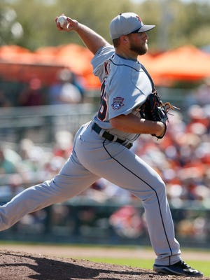 Detroit Tigers relief pitcher Ian Krol pitches in the fifth inning against the Baltimore Orioles in a Grapefruit League game on Wednesday, March 4, 2015 in Sarasota, Fla.