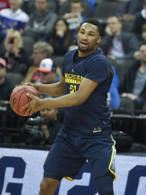 Michigan guard Zak Irvin goes through drills during practice at the NCAA Midwest Regional on Wednesday, March 22, 2017, at the Sprint Center in Kansas City, Mo.