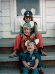 Becky, Robby, and their cousin Sherri on the front steps of our Seymour home in 1978.