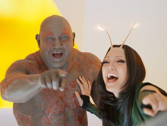Drax (Dave Bautista) and Mantis (Pom Klementieff) enjoy