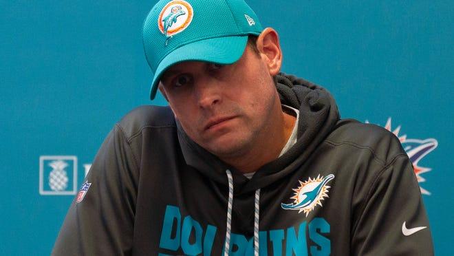 Miami Dolphins NFL football head coach Adam Gase talks to the media.