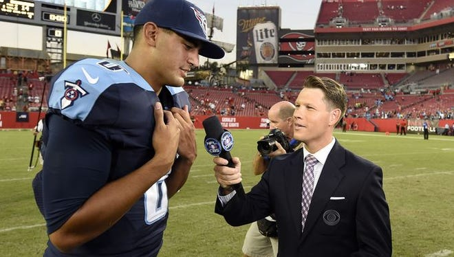 Titans quarterback Marcus Mariota is interviewed after the team's 42-14 win over Tampa Bay on Sept. 13.