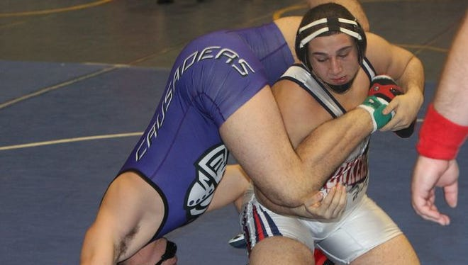 Yonkers senior Khaled Dassan, the new No. 1 at 220 pounds in Division 1, wrestling on the first day of action at the Eastern States Classic wrestling tournament at Sullivan Community College Jan. 15, 2016.