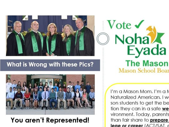 This mailer for Mason school board candidate Noha Eyada