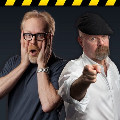 """""""MythBusters"""" hosts Adam Savage, left, and Jamie Hyneman"""