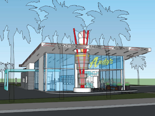 A new Andy's opening in Orlando will feature a retractable glass wall, which can transform an open-air patio into a sheltered air-conditioned space.