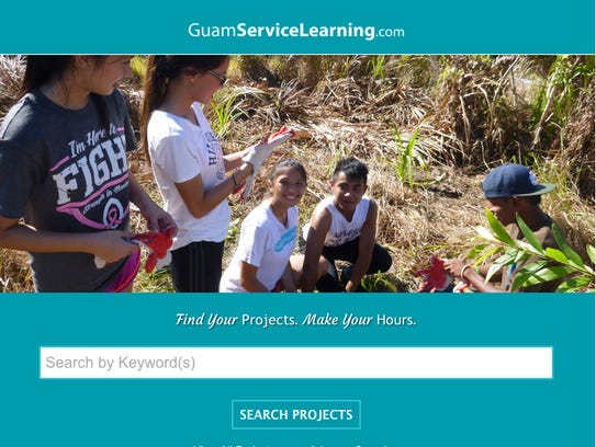 A screenshot of the Guam Service Learning website.
