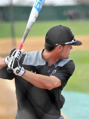 Hardin-Simmons outfielder Hunter Garrison takes batting practice on Thursday, March 15, 2018, at Hunter Field.