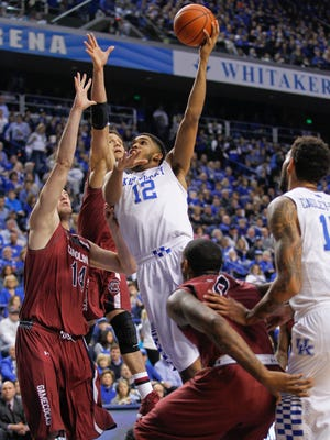 Kentucky's Karl-Anthony Towns had nine points with four rebounds and one block during 77-43 blasting of South Carolina Saturday afternoon in Rupp Arena. By Matt Stone, The Courier-Journal February 14, 2015