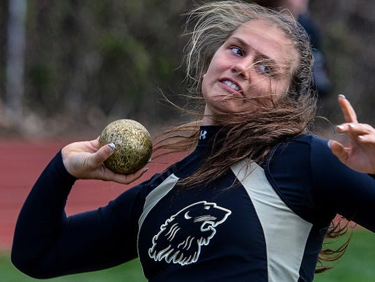 Red Lion's Hailey Gunnet throws the shot during the Lions' meet against Dallastown on Tuesday. Gunnet won the shot put and javelin and finishing third in the discus.
