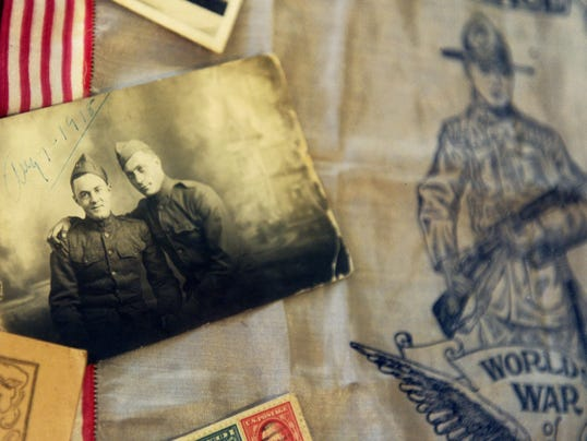 A variety of period piece photos, books and advertisements that were on display Saturday during an event featuring World War I en-enactors.