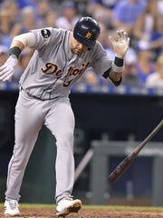 Tigers third baseman Castellanos flips his bat to the ground after hitting a fly ball out to end the top of the fifth inning on Thursday, July 20, 2017, in Kansas City, Mo.