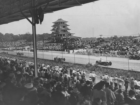 A few from the stands in the straightaway near the first turn during the 1946 Indianapolis 500.