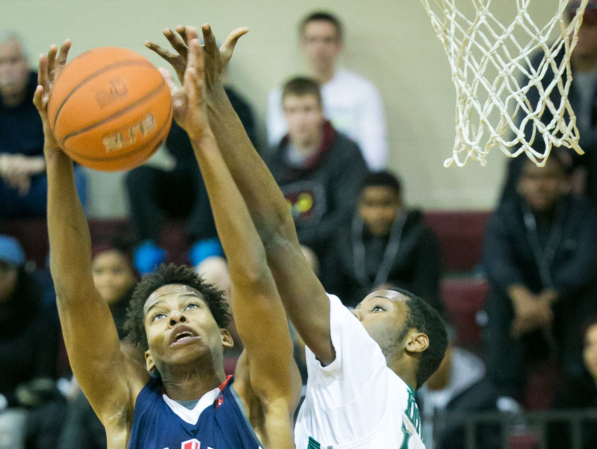 DeJon Backus of Mount Pleasant blocks Yvens Monfluery of American History at the 5th Annual Concord Classic.