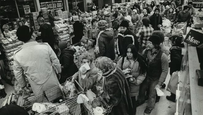 Checkout lines are long at the Kohl's Food Store, 8201 W. Blue Mound Road, as shoppers stocked up on groceries on Jan. 15, 1982, in advance of a second consecutive harsh winter weekend. This photo was published in the Jan. 16, 1982, Milwaukee Sentinel.