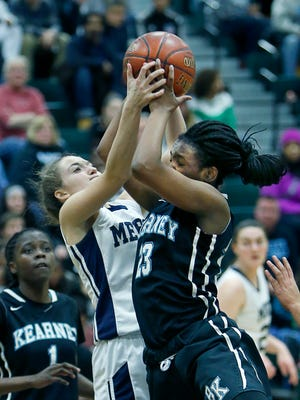 Mercy's Maggie McDonough and Bishop Kearney's Allure Simmons hold onto a loose ball at the same time in the third quarter at Rush-Henrietta High School.