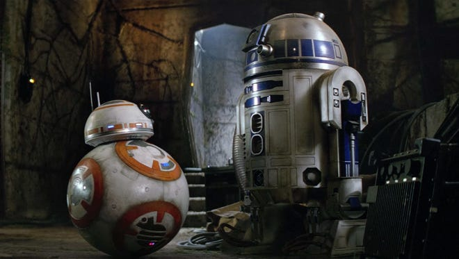 """BB-8 and R2-D2 in """"The Force Awakens."""""""